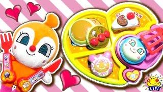 アンパンマン おもちゃでお料理❤︎ままごとトントンキッチンでケーキとお菓子作り❤︎ドキンちゃんとしょくぱんまんがラブラブ⁉︎おいしくやいてデザートプレートでお料理ショー❤︎人形アニメ anpanman