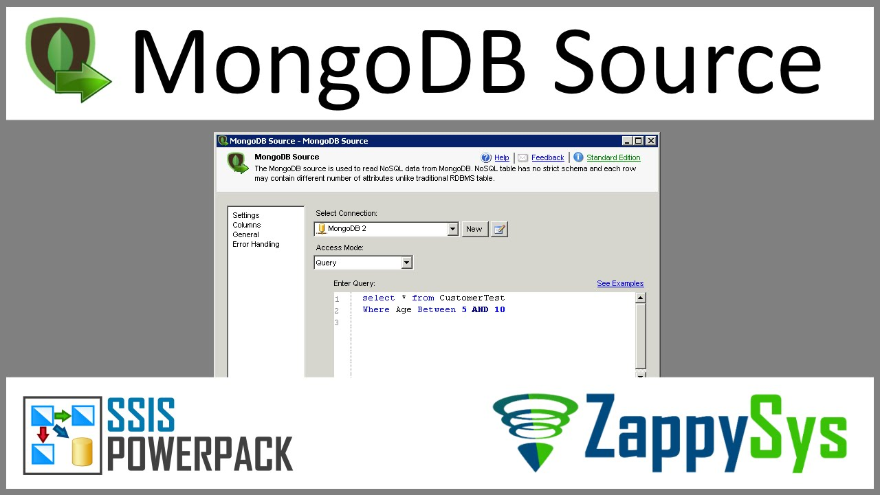 SSIS MongoDB Source Connector | ZappySys