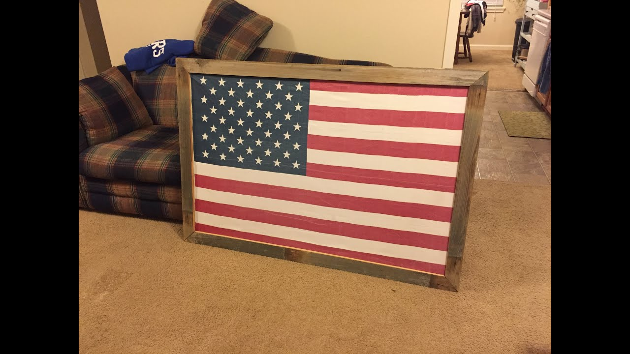 Full size flag frame | how-to (or large picture frame) - YouTube