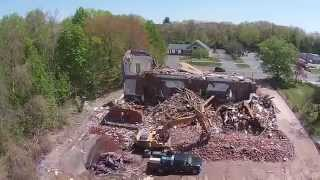 Flying over the demolition of the former Brainard School in Enfield CT May 5, 2015