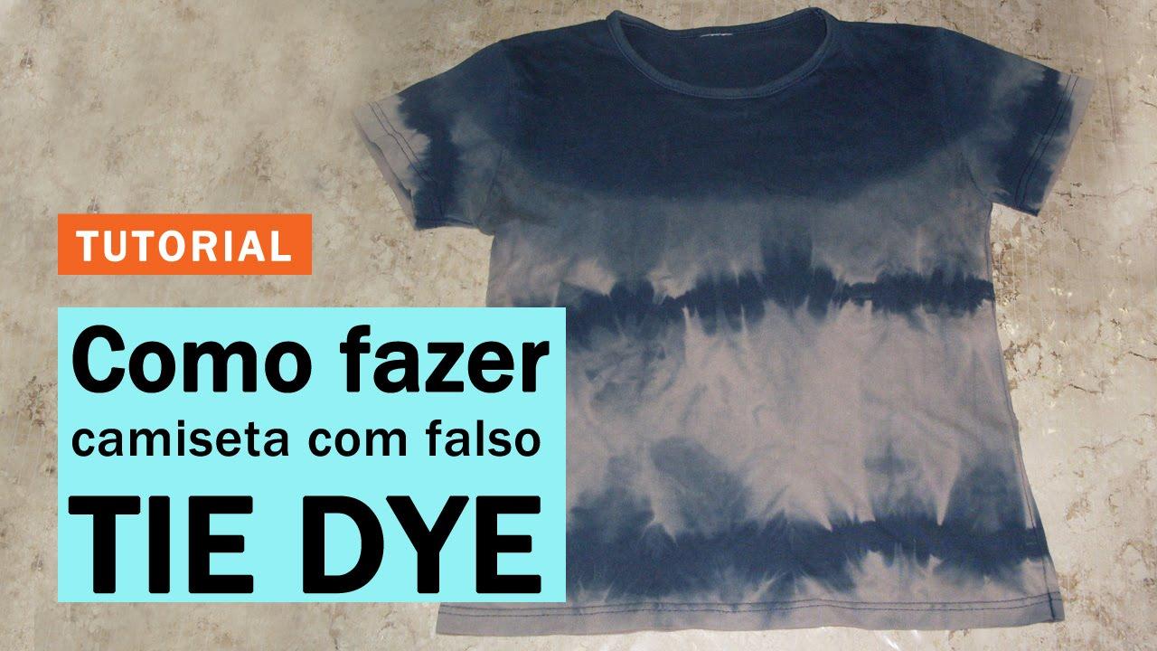 cd8962302f COMO FAZER TÉCNICA DO FALSO TIE DYE EM CAMISETA