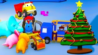 Unwrapping Christmas presents: learn colors with Ethan the Dump Truck, Dino, Ted and the Tiny Trucks