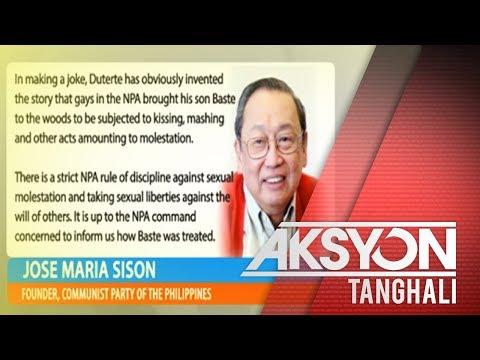 Joma Sison, umalma sa tirada ng Pangulo na ilang miyembro ng NPA ay bading