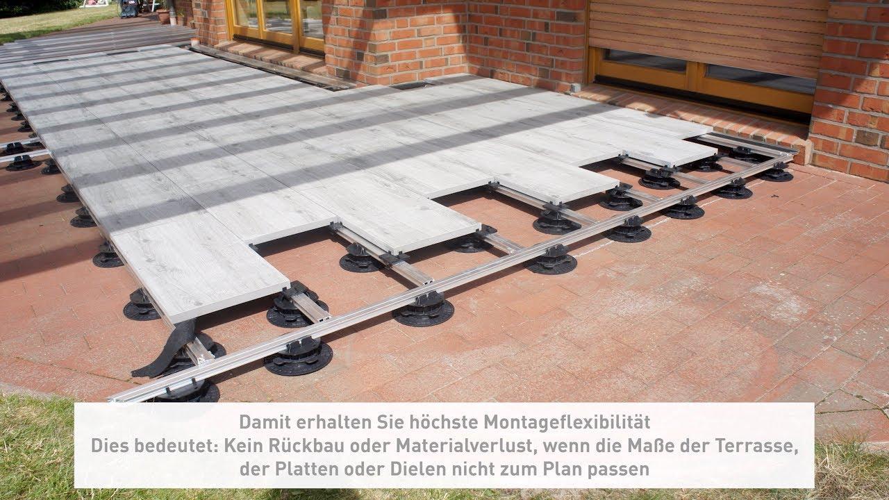 Alu Montage Schienen Rahmen System Mischbelag Unterkonstruktion Platten  Dielen