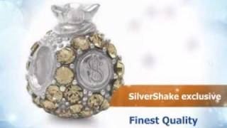 AUTH Nagara $ MONEY BAG Crystal Silver w/Thread Charms Bead
