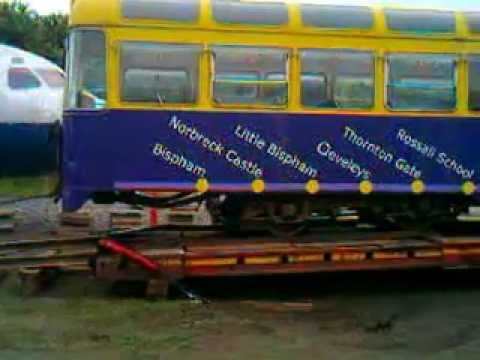 Ex Blackpool Tram  unloaded at NELSAM 03 07 2013