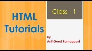 html tutorial for beginners : HTML Basic Program - Class 1.