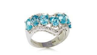 Colleen Lopez 4.87ctw Blue Zircon and White Topaz Ring thumbnail