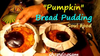 Simple Pumpkin Bread Pudding Baked In A Cookie Tin / No Butter
