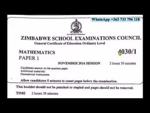 Nov 2016 Paper 1 Zimsec