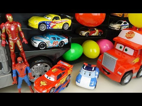 Super hero cars career truck and surprise eggs car toys play