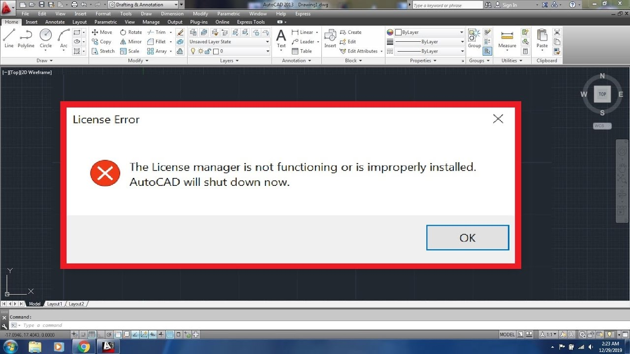 AutoCAD: The License manager is not functioning or is improperly installed
