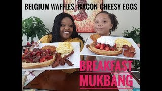 Breakfast Mukbang 먹방 with the fam bam Belgium waffles with chocolate strawberries