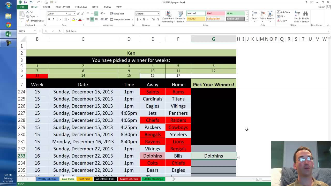 2013 nfl survivor pool in excel youtube 2013 nfl survivor pool in excel maxwellsz
