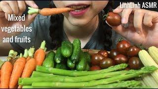 ASMR Eating Veggie Platter: Asparagus, Tomato, Carrot, Cucumber, Corn  LinhLinh ASMR #47