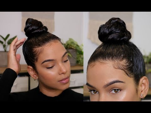 How to get a Sleek Top knot bun with Curly Hair