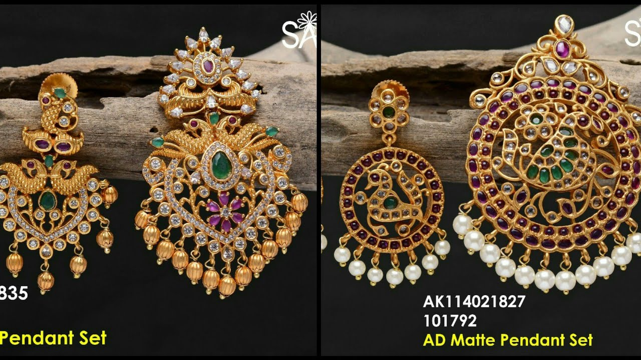 Latest 1 gram gold pendant set with price cz stones jewellery real latest 1 gram gold pendant set with price cz stones jewellery real gold designs with price aloadofball Image collections