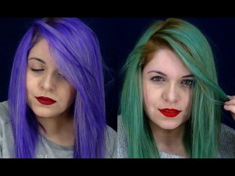 How I Dye My Hair To Purple And Dark Green Youtube
