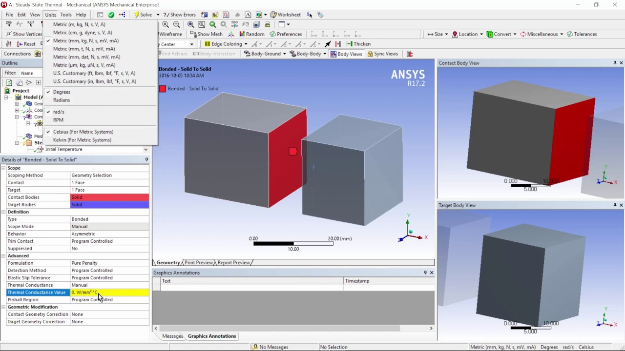 How to Model Face to Face Thermal Contact in ANSYS Workbench Mechanical