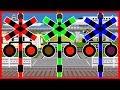 踏切アニメ ふみきり Color train for Kids | Learn colors | 英語 色 新幹線 電車 UFO 学習 知育 キッズ 子供 乗り物 動画 train Anime