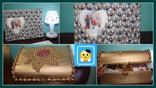 Decora portaretrato y cofre de madera con pasta y semillas/photo frame and wooden chest