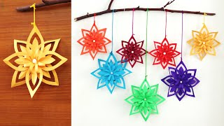 Simple Paper snowflake wall hanging | DIY easy paper crafts tutorial - Wall decoration ideas