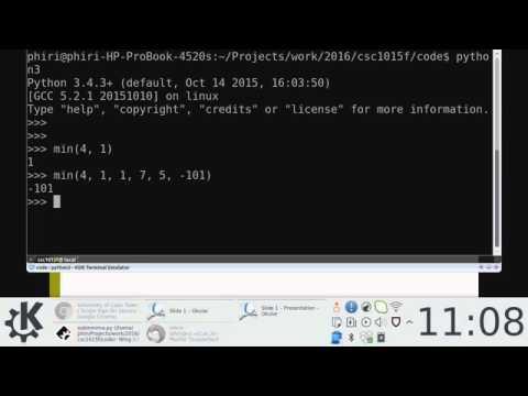 Computer Science 1015: Python Basics 2/2: Session 1@ CS2A (Screencast)