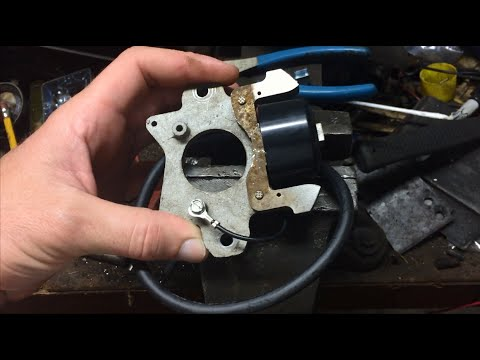 part 3- 8hp kohler k181 giant vac replacing kohler under flywheel magneto  with tecumseh coil