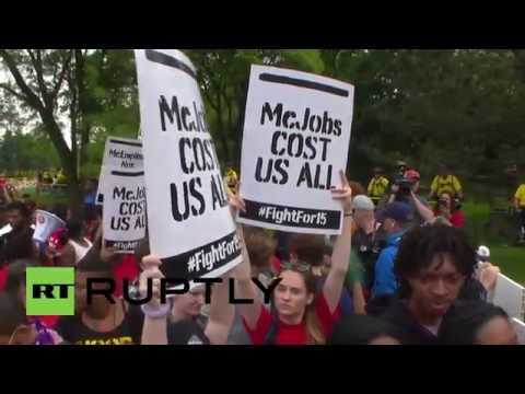USA: Minimum wage protesters rally at McDonald's HQ