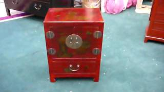 Chinese Red Leather Veneer Floral End Table S1769