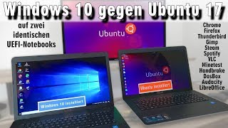 Windows 10 gegen Ubuntu 17 Linux Test auf identischen neuen UEFI Notebooks - [4K]