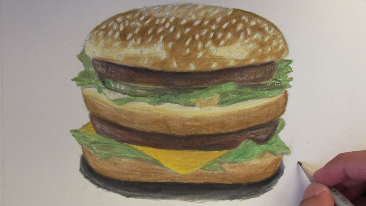 Realistic Big Mac Hamburger  Speed Drawing