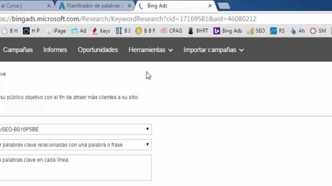 Como Hacer Un Análisis de palabras Claves con Google y Bing (Yahoo ...