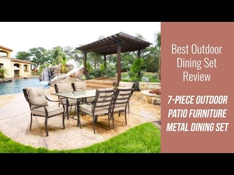 Contemporary Outdoor Dining Set Review - Patio Furniture Metal Dining Set with Cushions
