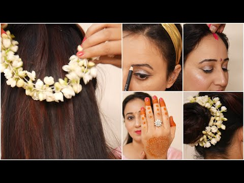 festive-makeup-&-hairstyle-for-newly-wed-brides-&-married-women-||-कुछ-ऐसे-किया-करवाचौथ-का-makeup