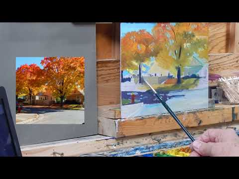 Painting a City Street and House Oil Landscape TomFisherArt 100