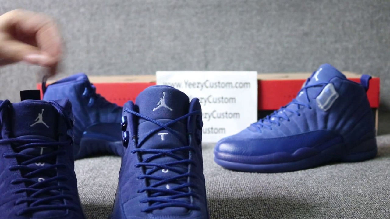 1b75695f5be930 Air Jordan 12 Blue Suede Chanel Real vs Fake - YouTube