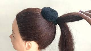 Awesome Bun Hairstyle For Party or Wedding || Hair Updo Tutorial For Saree || Easy Party Hairstyles