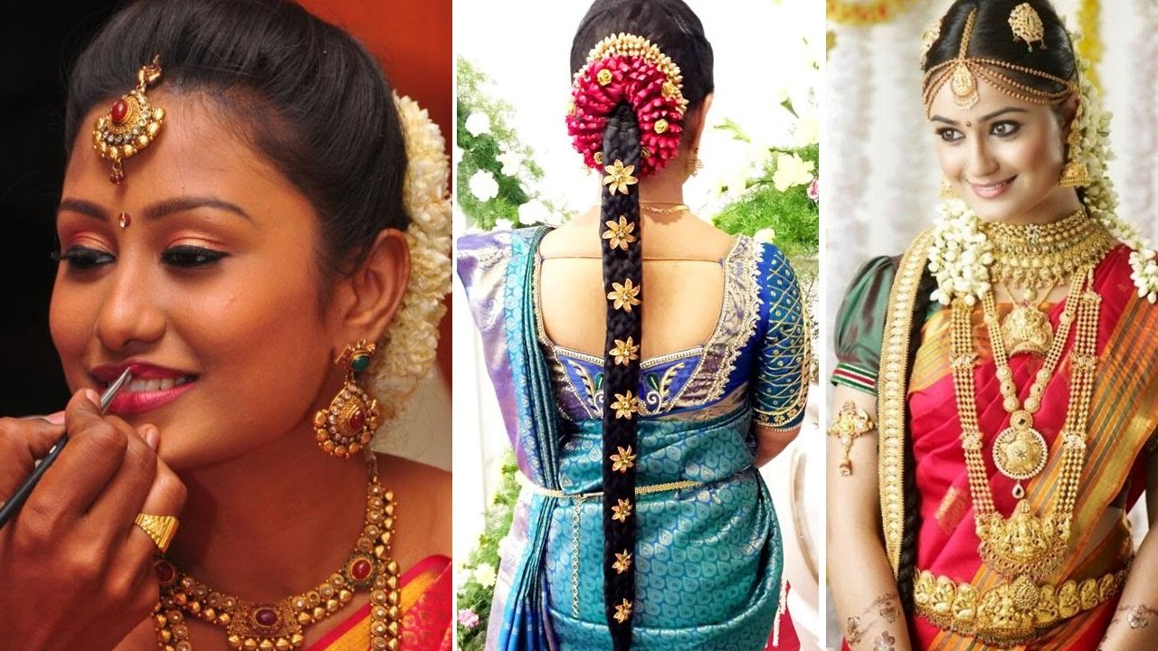 south indian bridal saree draping with bridal makeup and bridal