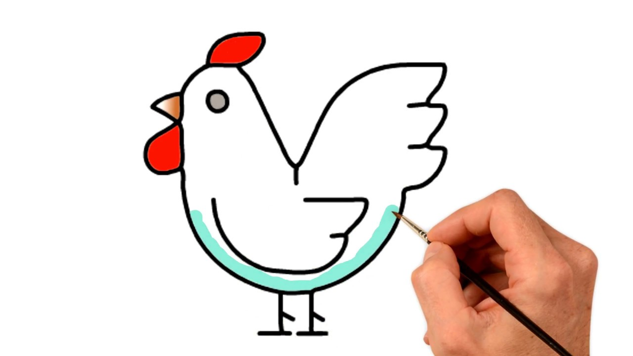 HEN DRAWING    how to draw a chicken easy step by step ...