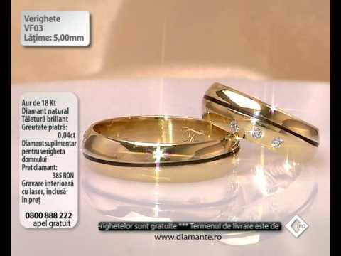 Verighete Din Aur Alb Roz Cu Diamant V343 By Bijuterii Valmand