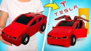DIY Mobil Tesla Penuh Gaya dari Kardus