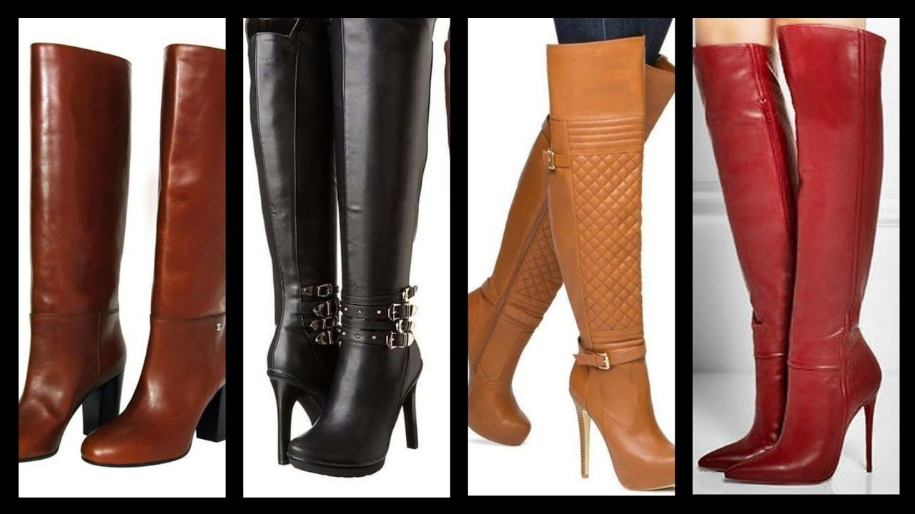 Latest ladies Stylish long leather high