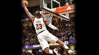 LeBron James Crazy Acrobatic Left Hand Dunk vs Jazz