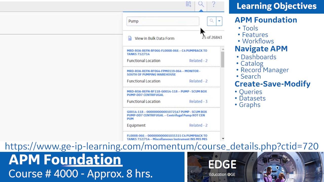 Asset Performance Management Training: Foundations   GE Digital