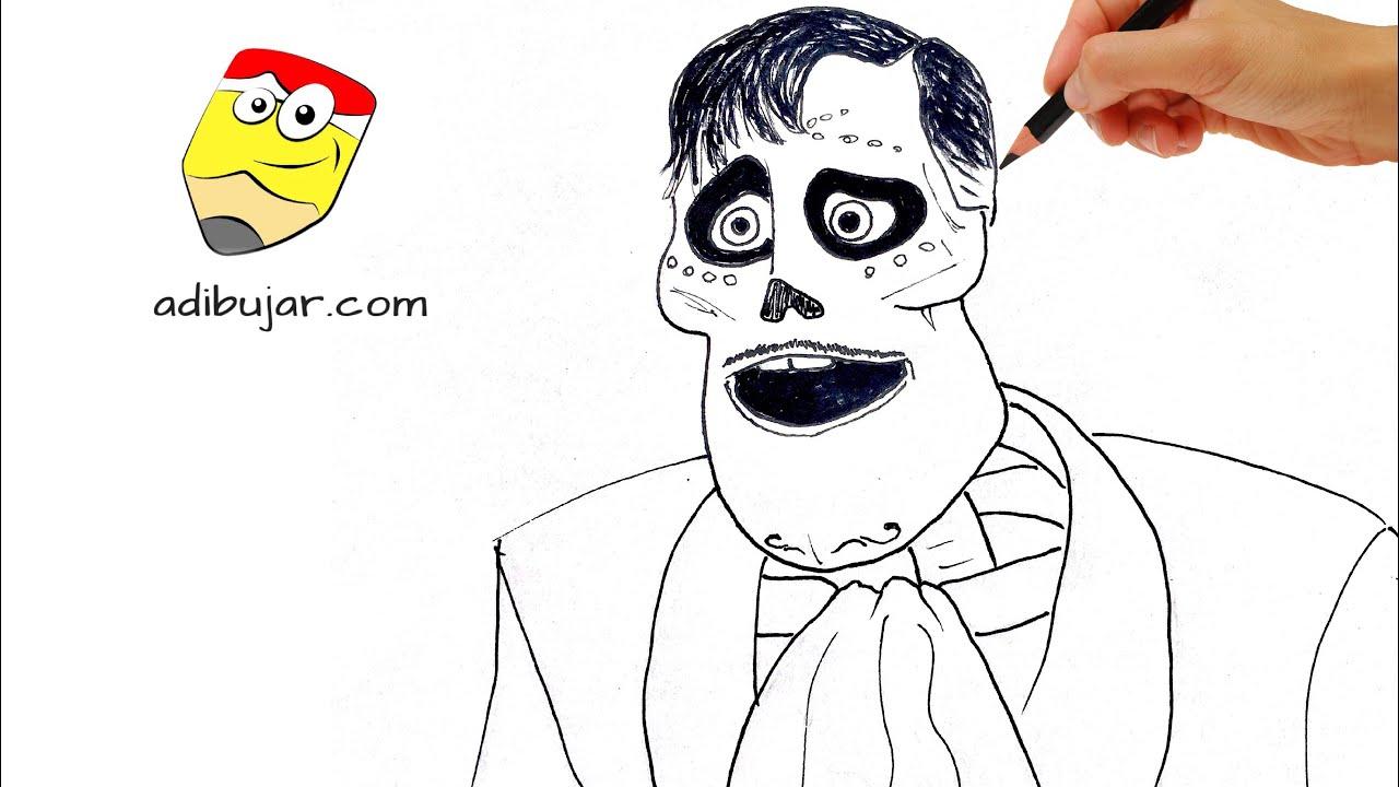 Miguel Coco Para Colorear: Cómo Dibujar A Ernesto De La Cruz Esqueleto (Coco Pixar) A