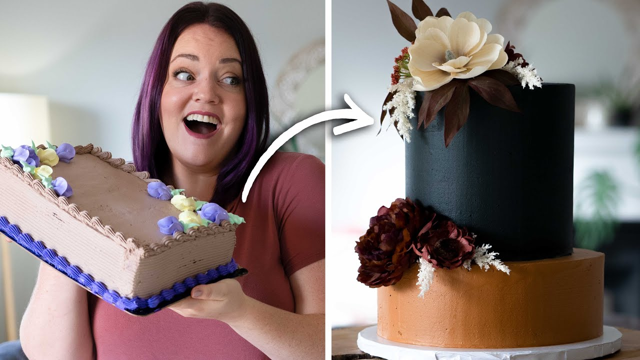 Turning a $20 Grocery Store Cake into a $500 Fall Wedding Cake!