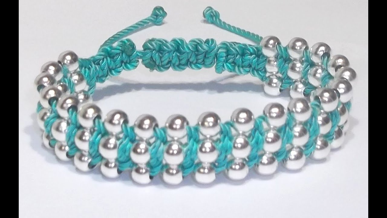 Tutorial diy como hacer una pulsera de tipo shambala con - Como hacer color turquesa ...