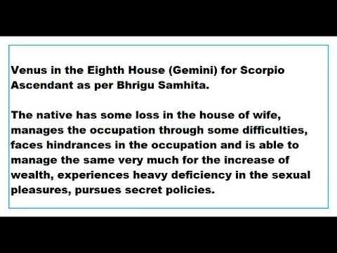 venus in 8th House for scorpio Ascendant as per Bhrigu
