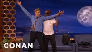 JB Smoove & Conan Dance The Tango  - CONAN on TBS(CONAN Highlight: JB is a fantastic dancer and proves it by forcing Conan to join him in a sensual tango. More CONAN @ http://teamcoco.com/video Team Coco ..., 2014-12-10T03:59:34.000Z)